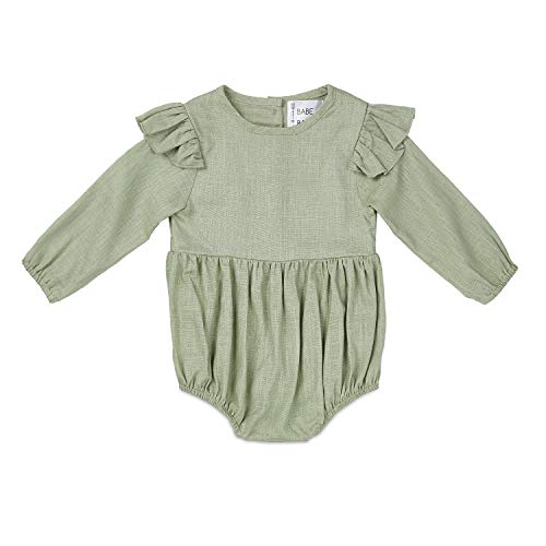 Babe Basics Flutter Sleeve Fall Baby Romper | Baby Girl Romper for Newborns, Infants, and Toddlers (3-6m, Olive) ()