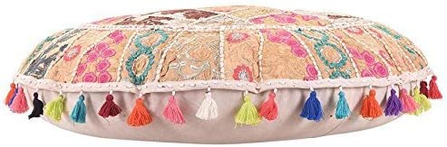 Indian Handmade Vintage Embellished Patchwork Home Decor Hippie Cotton Boho Chic Bohemian Ethnic Traditional Foot stool Round Floor Pillows /& Cushion Cover Seating Hand Embroidered Pouf Ottoman