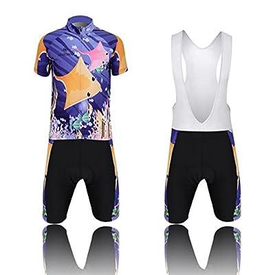 LSERVER Cartoon Kids Boys Girls Short Sleeve Cycling Jersey Set Tops+3D Padded Shorts/Bib Shorts Sportswear