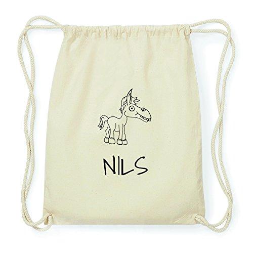 JOllipets NILS Hipster Turnbeutel Tasche Rucksack aus Baumwolle Design: Pferd o9p5L05vg7