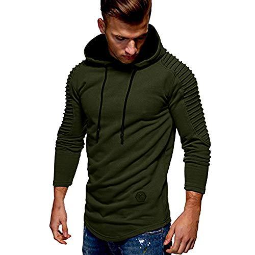 Top À Manches Chemisier Hommes Capuche ❤ Mode Slim Plis Longues Automne Fit Raglan Morchan Hiver Verte Armée fOTg4SqP