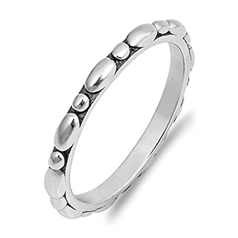 Eternity Stackable Bubble Pebble Thin Ring .925 Sterling Silver Band Size 9 (RNG17504-9) (Pebble Band Ring)