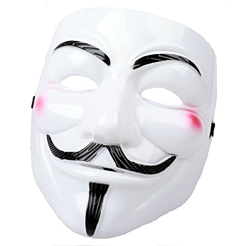 AStorePlus V for Vendetta White Theater Mask, Cosplay Guy Fawkes Mardi Gras Party Mask Halloween Costume Accessory