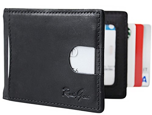 Minimalist Bifold RFID Mens Wallet Thin Money Leather Clip Blocking Black Slim RUSTYGEAR cWqXY8wFY