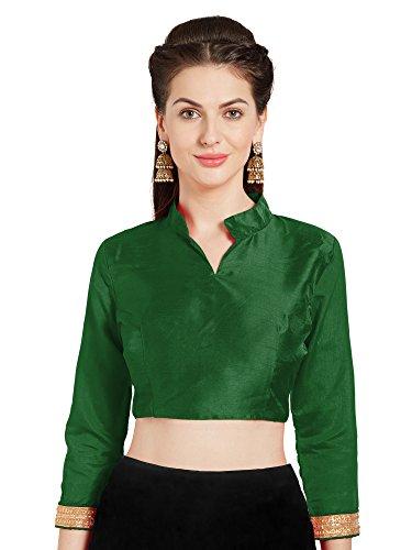 Women's Green Art Silk Readymade Saree Blouse Choli Mirchi Fashion Top