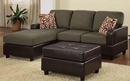 Amazon Com 3pc Sectional Sofa Set With Reversible Chaise And
