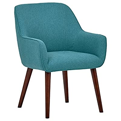 "Rivet Julie Mid-Century Swope Accent Dining Chair, 23.6""W, Aqua - This classic mid-century modern accent chair features a simple, clean design with narrow armrests and tapered legs. Plenty of padding makes it sturdy and comfortable to use in the dining room or anywhere else extra seating is needed. 24""W x 24""D x 32""H Fabric is 100% polyester; hardwood legs with espresso finish - kitchen-dining-room-furniture, kitchen-dining-room, kitchen-dining-room-chairs - 41H275hbZiL. SS400  -"