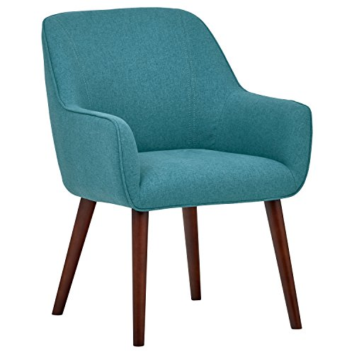 Rivet Julie Mid-Century Swope Accent Dining Chair, 23.6″W, Aqua