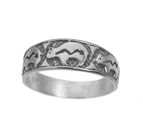 Zuni Bear Fetish Tribal ring sterling silver 925 Jewelry Heartline Animal Spirit