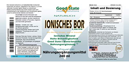 Good State | Liquid Ionic Boron | Dietary Supplement | Great for Enhanced Muscle Coordination | 120 Servings at 5 Mg | 8…