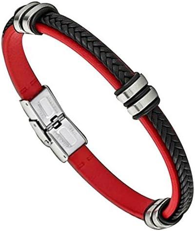LS1829-2//3 Rouge et noir Bracelet Homme Cuir et Acier Lotus