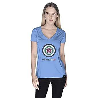 Creo Captain Jordan Superhero T-Shirt For Women - L, Blue