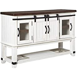 Farmhouse Buffet Sideboards Signature Design by Ashley Valebeck Dining Room Server, White/Brown farmhouse buffet sideboards