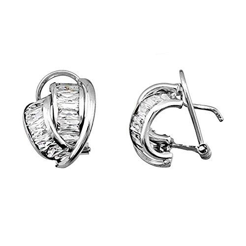 Boucled'oreille 18k or blanc cubique bandes de zircone [AA6433]