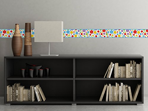 Polka Dot Border Fabric Wall Decal - Rainbow - Set Of Two 25