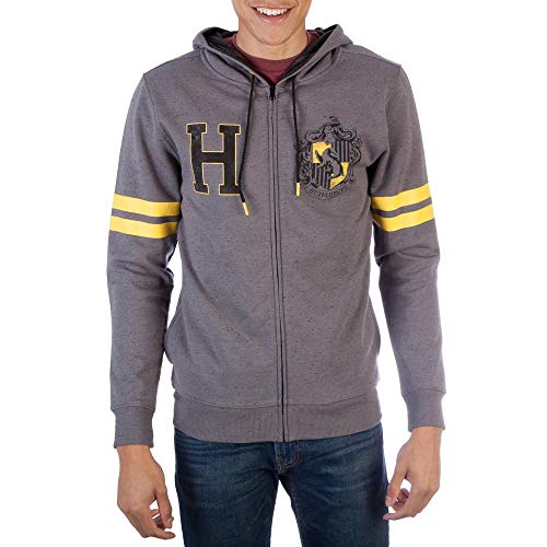 HARRY POTTER Hufflepuff Mens Grey Zip Ho...