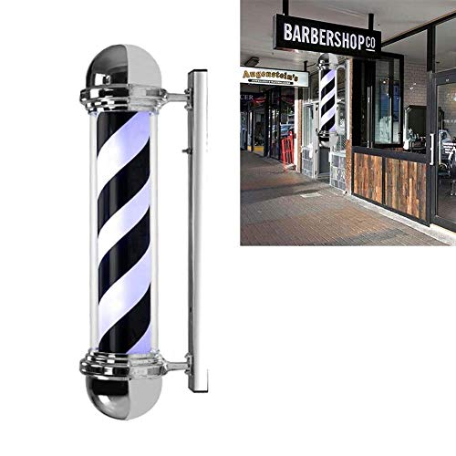 Led Barber Pole Light, Outdoor Barbershop Hair Salon Hairdressing Sign Black and White Stripes Wall-Mounted Lamp Waterproof