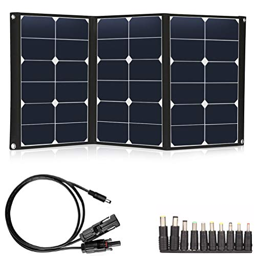 TWELSEAVAN 60W Portable Solar Panel Sunpower Foldable Solar Panel Charger Dual 5V USB and 18V DC Solar Charger for Portable Solar Generator Power Station, 12V Battery, Camping, Hiking, Outdoors