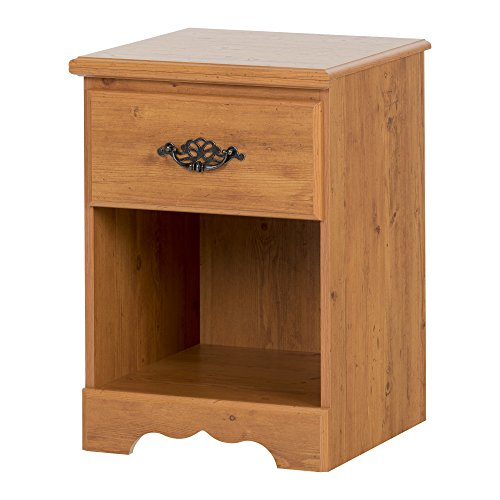 South Shore Prairie Collection Nightstand, Country Pine with Antique Handles