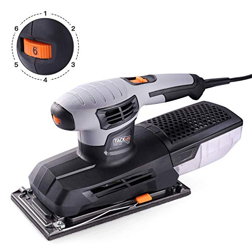 TACKLIFE 1/2 Orbital Sheet Sander, Large Sanding Base(9×4.5 Inch), 12,000 Opm, Variable Speed Finish Sander with Efficient Dust Collection System, Hook and Loop Pad, Quick Locking System - PSS02A ()