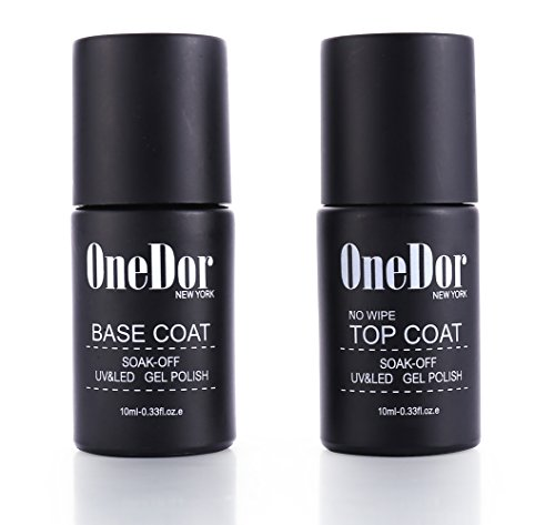 OneDor Gel Top Coat & Base Coat Soak Off Polish Set Kit, UV