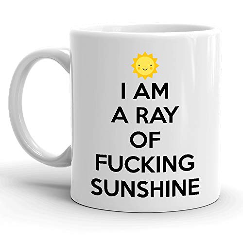 I Am A Ray Of Fucking Sunshine White Ceramic 11 oz Glossy Coffee Mug, Awesome Funny St Patrick's Day, Christmas, Xmas, Birthday Gifts, Hot Rude Sarcastic Mugs Memes Tea Cup