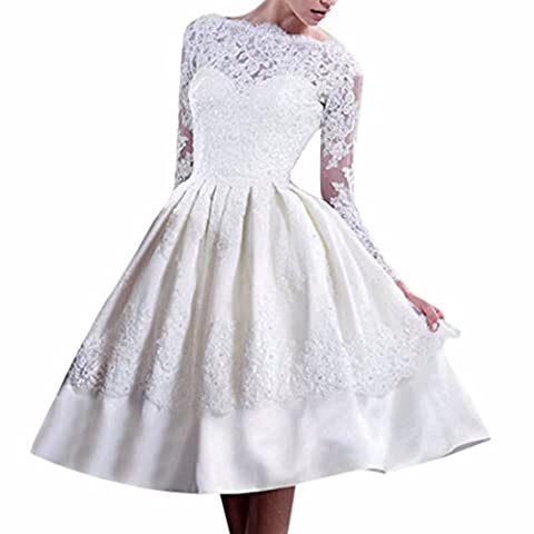 White Long Sleeve Bride Wedding Party Dress Women Backless Lace Tulle (Sposa Abito Lungo)