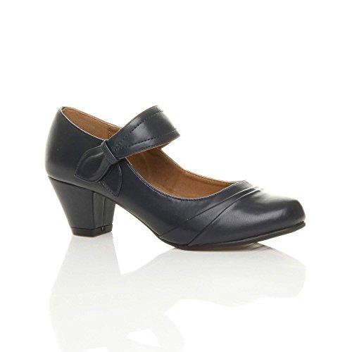 Ajvani - Zapatos de vestir para mujer Navy Matte