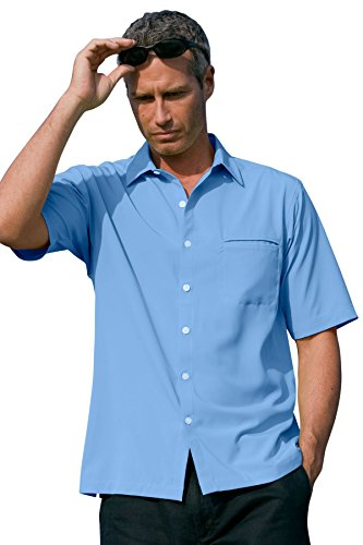 (Vantage Men's Vansport Woven Camp Shirt, Carolina Blue, XL)