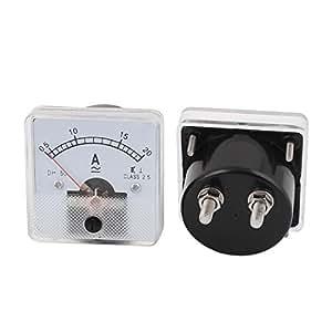 AC 0-20Amp Ajuste fino Dial 2pcs Panel Corriente de prueba del medidor del amperímetro DH50