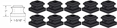 """Iron Baluster Shoes - Flat Shoes with Screw - for Use with 1/2"""" Square Balusters - Set of 10"""
