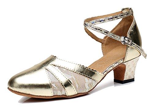 Tda Womens Cinturino Alla Caviglia Cinturino In Pelle Pizzo Tango Da Ballo Moderno Scarpe Da Ballo Latino Scarpe Oro-5cm Tacco