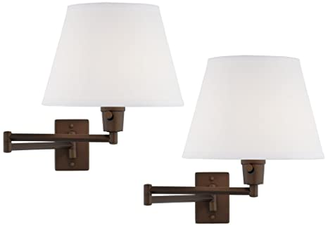 clement plugin swing arm wall lamp set of 2 in bronze