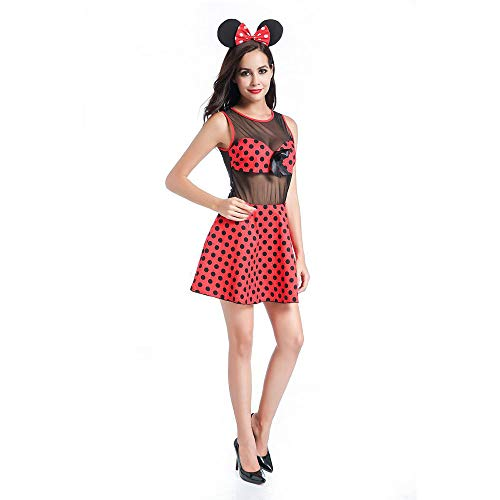 LVLUOYE Halloween Cosplay Costume, Red Polka Dot Minnie Mickey Plays Uniform, Playground Show Cosplay Costume,XL]()