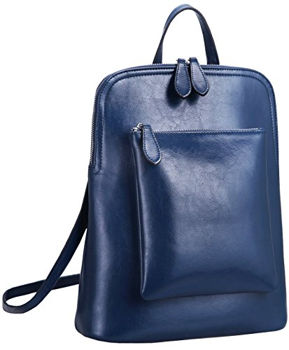 Collection Top Quality Leather Match (Heshe Women's Vintage Leather Backpack Casual Daypack for Ladies and Girls (Dark Blue))