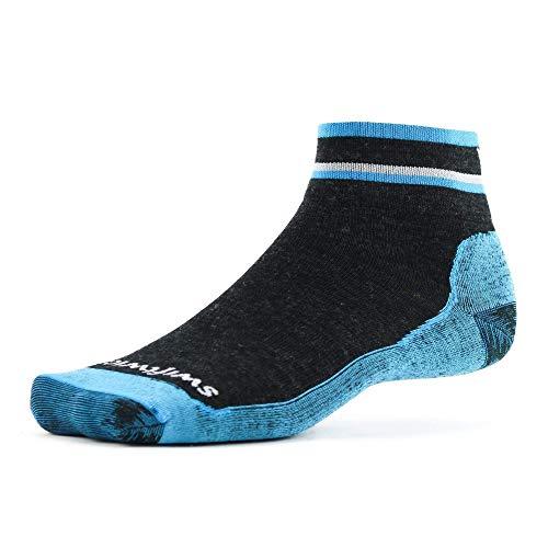 Swiftwick- PURSUIT HIKE TWO- UL | Socks Built for Trail Running & Hiking | UltraLight Cushion, Merino Wool Crew Socks | Coal/Blue, Medium