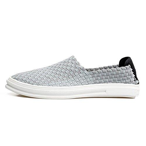 Hombre Oscuro para 2018 shoes Mocasín Zapatos EU de 44 para Mocasines Mocasines tamaño Gris Azul Shufang Hombre cuadrícula Color xfIq6wRx