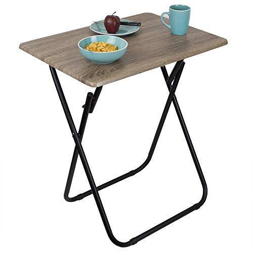 Home Basics Multi-Purpose Sturdy Durable Decorative Bedside Laptop Snack Cocktails Jumbo TV Folding Table Tray Desk Rustic
