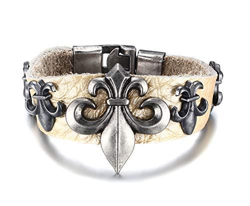 LMXXV Two-Tone Vintage Geninue Leather Fleury Cross Fleur-de-lis Cuff Bracelet Wristband for Unisex,8.0