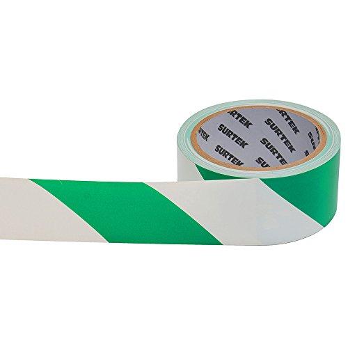 Surtek 138062 Cinta de Señalización, 18m, color Verde y Blanco