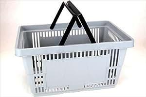 Amazon.com: Plastic Shopping Baskets w/ Handles - Quantity 1 - Color: Gray - Eco Friendly