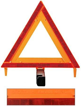 FMVSS 125 Brightness Auto LED Warning Triangle Sign DOT Approved 3PK,Reflective Warning Road Safety Triangle Kit,49 CFR Part 571.125 US
