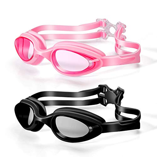 FRAME YI Swim Goggles,Pack of 2 Swimming Goggles Anti-Fog No Leak Eye Protection Clear View Goggle with Ear Plugs for Women Men Adult Youth Teen Kids, Black&Pink