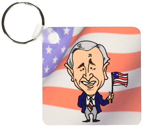 3dRose President George W. Bush With American Flag - Key Chains, 2.25 x 4.5 inches, set of 2 ()