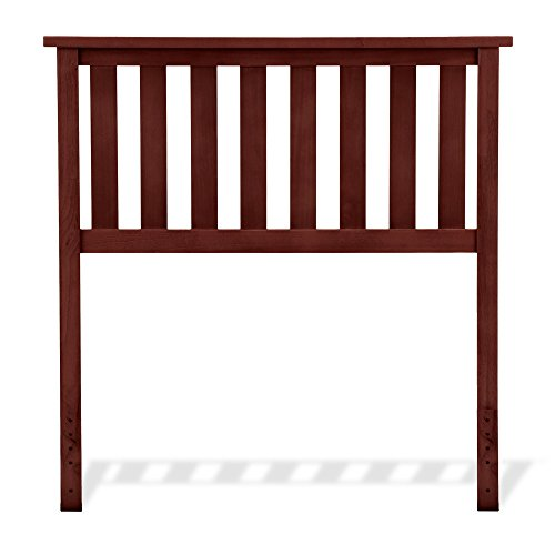 Maple Finish Twin Headboard - Leggett & Platt Belmont Wood Headboard Panel with Flat Top Rail and Slatted Grill Design, Merlot Finish, Twin