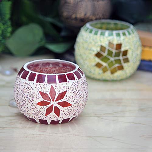 Karguzzari Crackle Glass Candle Holder Votive T Light Holder Home Décor Lighting Gift Tlight Set of 2 (VOT-29X74)