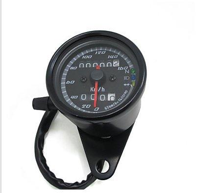 Todwish schwarz 12v Motorrad Roller Tacho Kilometerzähler Manometer 0-160km / h Motorrad Hintergrundbeleuchtung Dual-Geschwindigkeitsmesser mit
