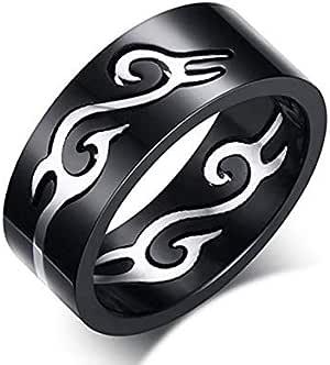Ring Adorned for Unisex, Black, Size 9, RS038