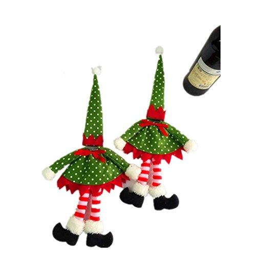 Wine Bottle Covert,Han Shi Polka Dot Print Christmas Bags Pocket Xmas Decoration Cases (S, Red)