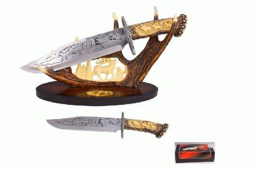 "15"" Deer hunting knife with polyresin deer antler stand"